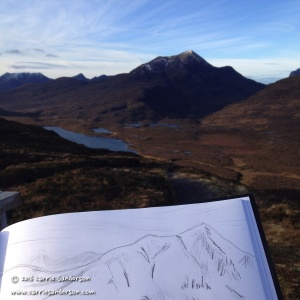 Sketching On Top Of Knockan Crag in Scottish Highlands - Carrie Sanderson