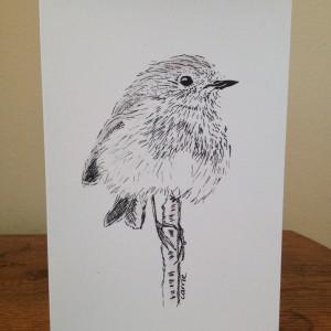 Robin Balancing On A Stick Greeting Card