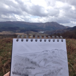 Sketching mountains in Trossachs