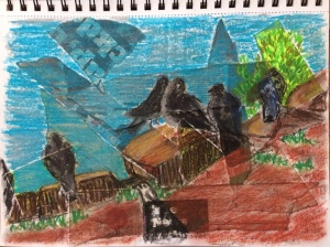 collage-and-pastels-of-pigeons-by-the-loch