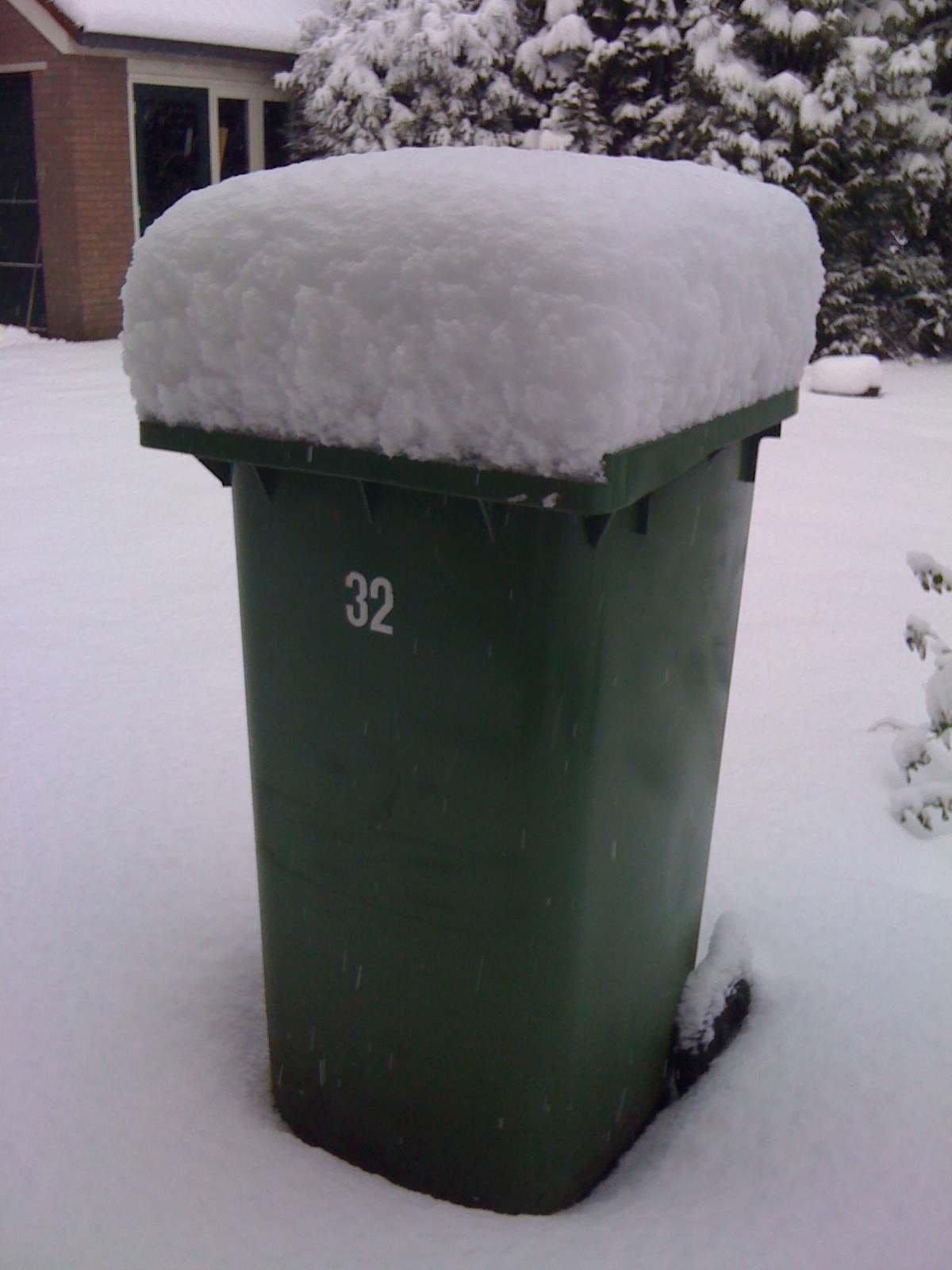 Green bin with snow